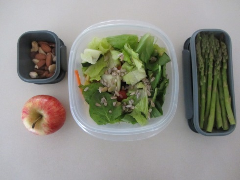 1/4 cup mixed nuts, apple, salad & asparagus